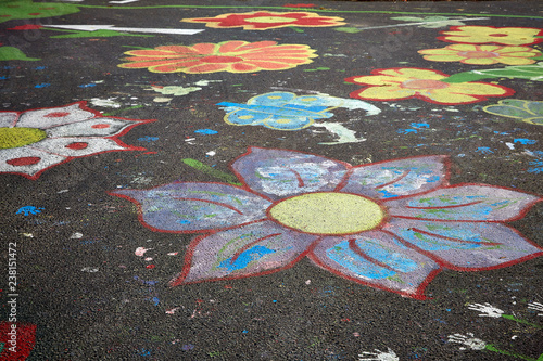 colorful street painting flowers chalk - 238151472