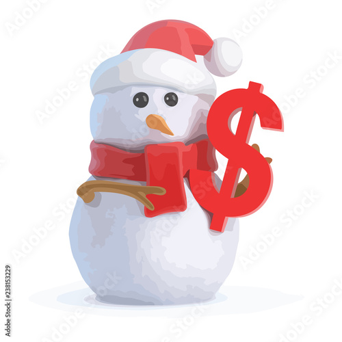 3d Snowman with US Dollar symbol