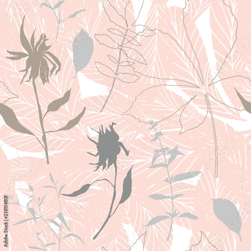 Leaves and flowers background. Vector seamless pattern with hand drawn realistic wild flowers, plants and leaves in light pastel colors - 238154801