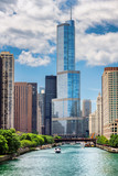 Chicago Skyline. Chicago skyscrapers in  downtown and Chicago River with bridges during sunny day. - 238155087