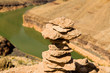 landscape and nature concept - tower of rocks in grand canyon and colorado river