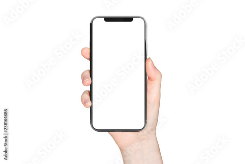 Woman hand holding modern smatphone mockup on white