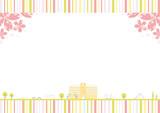 校舎 桜 ストライプ背景 - 238167068