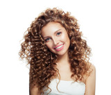 Happy young woman isolated on white background. Expressive facial expressions