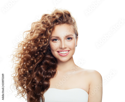 Beauty portrait of happy woman isolated - 238172269