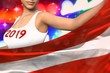 sexy girl holds Austria flag in front on the party lights - Christmas and 2019 New Year flag concept 3d illustration