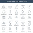 25 science icons. Trendy science icons white background. Included line icons such as test tube search, hair, pipette, satellite, liver, medical cross. science icon for web and mobile.