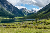 Lake in the valley between two mountainsides in Norway