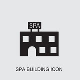 spa building icon . Editable filled spa building icon from beauty. Trendy spa building icon for web and mobile.