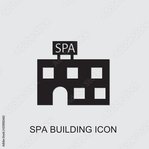 ikona budynku spa. Edytowalne wypełnione ikona budynku spa z urody. Modny budynek spa ikona dla internetowych i mobilnych.