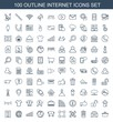 internet icons. Trendy 100 internet icons. Contain icons such as shopping bag, love letter, bin, globe, network connection, bus airoirt, planet. internet icon for web and mobile.