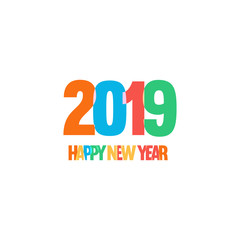Decoration of Childrens celebration New Year. Fun and funny style vector logo. Simple design, bright colors, festive mood illustration on white background.
