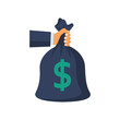 Give a full bag of money. Bag of money in hands of human. Big earnings. Earning money concept. Banking investment deposit. Vector illustration flat style. Isolated on white background.