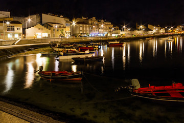 Arousa Island seafront at night