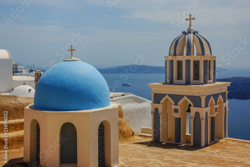 The crosses on the bell towers of some Greek churches