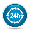 24 hours delivery icon special prime blue round button