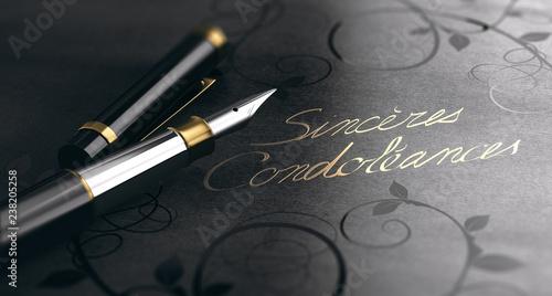 Sincères Condoléances en lettres d'or sur fond noir