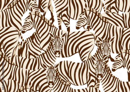 Plakat Seamless pattern with of zebras.