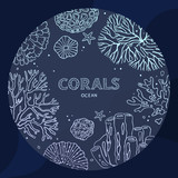 Circle coral underwater concept in a line art style