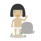 Olmec cartoon character with typical sacred sculpture. Vector Illustration. Kids History Collection. - 238210864