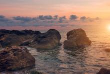 "Постер, картина, фотообои ""Dawn on the sea. The view from the water of the rising sun and the beautiful sky. Marine landscape. Odessa. Black Sea. """