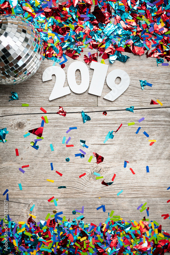 NYE2019: 2019 Year Numbers With Mirrored Disco Ball