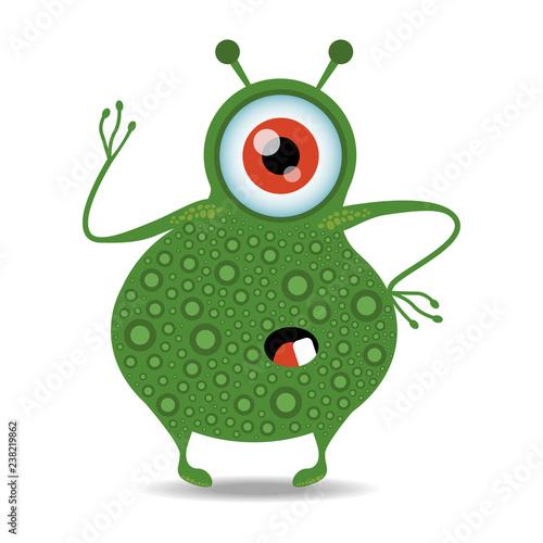 Cartoon monster icon. Cute and funny cartoon monster. Vector illustration.