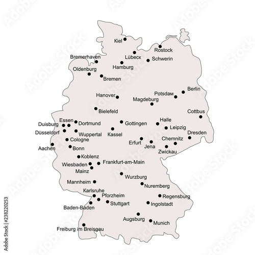 Outline Map Of Germany.Germany Outline Map With Stroke Isolated On White Background With