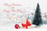 Merry Christmas and Happy New Year. Christmas gift and Christmas decoration