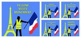 Yellow vests movement graphics with Eiffel Tower and French flag