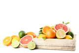 Citrus fruits with wooden crate isolated on white background - 238238827