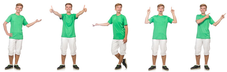 Young boy in green t-shirt isolated on white  © Elnur