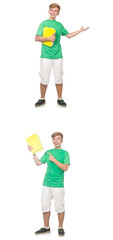 Young student with notes isolated on white  © Elnur