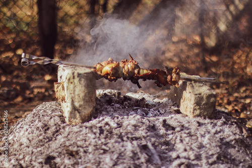 Meat at the festival of street food.  Meat on the improvised oven made of brick