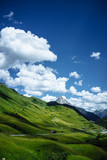 Green alpine meadow in spring with clouds in front of blue sky. Austria, near Lech