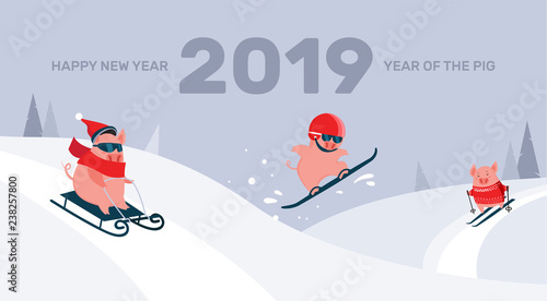Funny cartoon pigs sliding ,skiing and snowboarding on a winter snowy background. Symbol of the New Year. Excellent for the design of postcards, posters, stickers and so on.