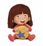 Niño pequeño jugando con una pelota - 238258076