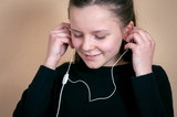 Girll listening to the music