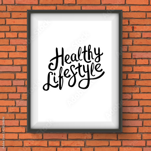 Healthy Lifestyle Texts in Frame Hanging on a Wall - 238264696