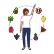 woman with fruits and vegetable healthy food - 238267055