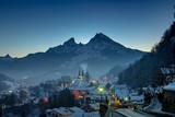 Berchtesgaden City in front of mount Watzmann in Winter - 238267808