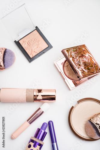 Set of luxury cosmetics for fashion make up  on white  background - 238271801