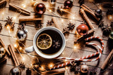 Christmas lollipop and tea on wooden background - 238272273