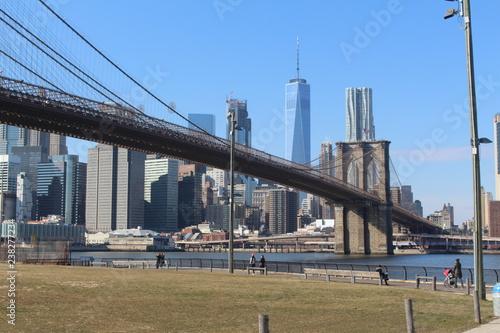 Fototapeta new york brooklyn bridge and skyline