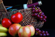 Artistic Still Life Basket of Fruit and Bottle of Wine