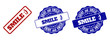 SMILE ;) scratched stamp seals in red and blue colors. Vector SMILE ;) labels with grainy texture. Graphic elements are rounded rectangles, rosettes, circles and text labels.