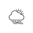 Sunny thunderstorm cloud with rain outline icon. linear style sign for mobile concept and web design. Rainy cloud with sun and lightning simple line vector icon. Symbol, logo illustration