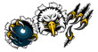 An eagle bird bowling sports mascot cartoon character ripping through the background holding a ball