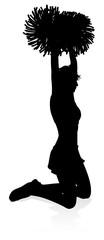 Detailed silhouette cheerleader holding pompoms © Christos Georghiou