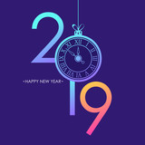 Happy New Year card with 2019 text design, trendy bright neon gradients, christmas ball and new year clock face. Vector illustration. - 238328882